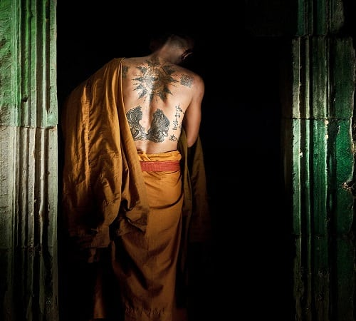 Artistic Photo of a Tattooed Monk